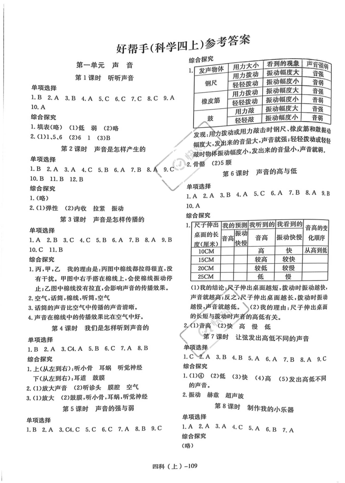 2020年小学学习好帮手四年级科学上册教科版浙江专版