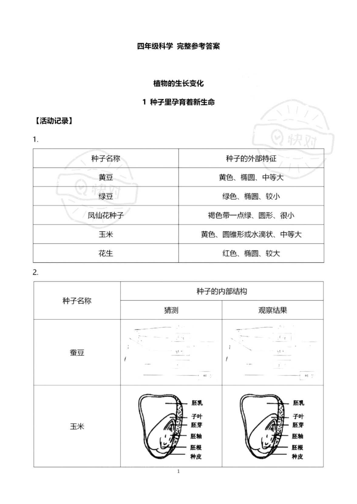 2021年科学作业本四年级教科版浙江教育出版社